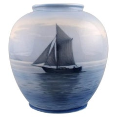 Royal Copenhagen Vase in Hand Painted Porcelain with Sailboat, 1930s-1940s