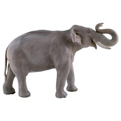 Royal Copenhagen, Very Large, Rare and Impressive Elephant with Lifted Trunk