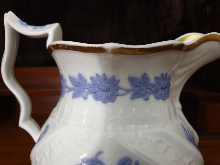 British Royal Copenhagen Flower Embossed Violet & Crème Large Water Jug 19th Century  For Sale