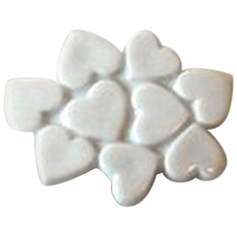 Royal Copenhagen White Heart Brooch porcelain & Anton Michelsen Sterling Silver For Sale