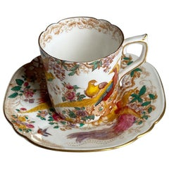 Royal Crown Derby Bird of Paradise Teacup and Saucer in Olde Avesbury Pattern
