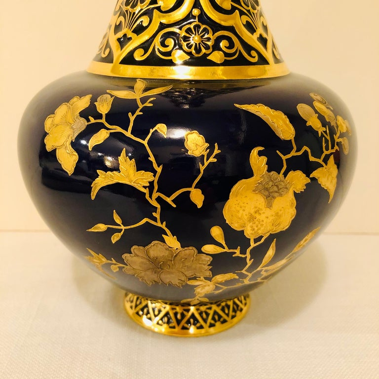 Royal Crown Derby Cobalt Vase Decorated with Raised Gilding For Sale 2