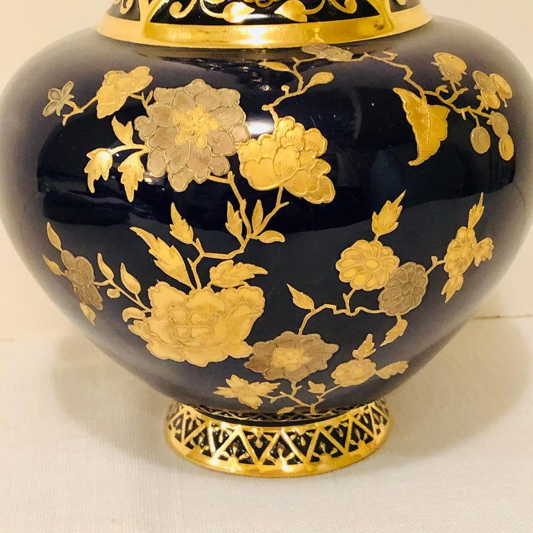 English Royal Crown Derby Cobalt Vase Decorated with Raised Gilding For Sale