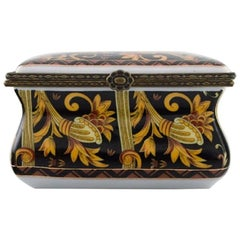 Royal Crown Derby, England, Jewelry Box in Hand-Painted Porcelain, 1920s-1930s