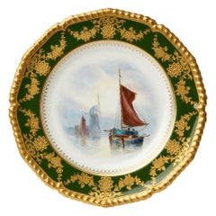Royal Crown Derby Hand Painted Cabinet Plate by WJE Dean 1917
