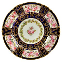 Royal Crown Derby Porcelain Plate, Pink Roses by A. Gregory, Victorian, 1899