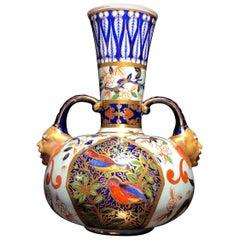 Royal Crown Derby Vase, Oriental Decoration and Face Handles, circa 1885