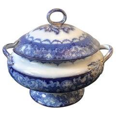 Royal Daulton Victorian Blue and White Ceramic Round British Soup Tureen 1870