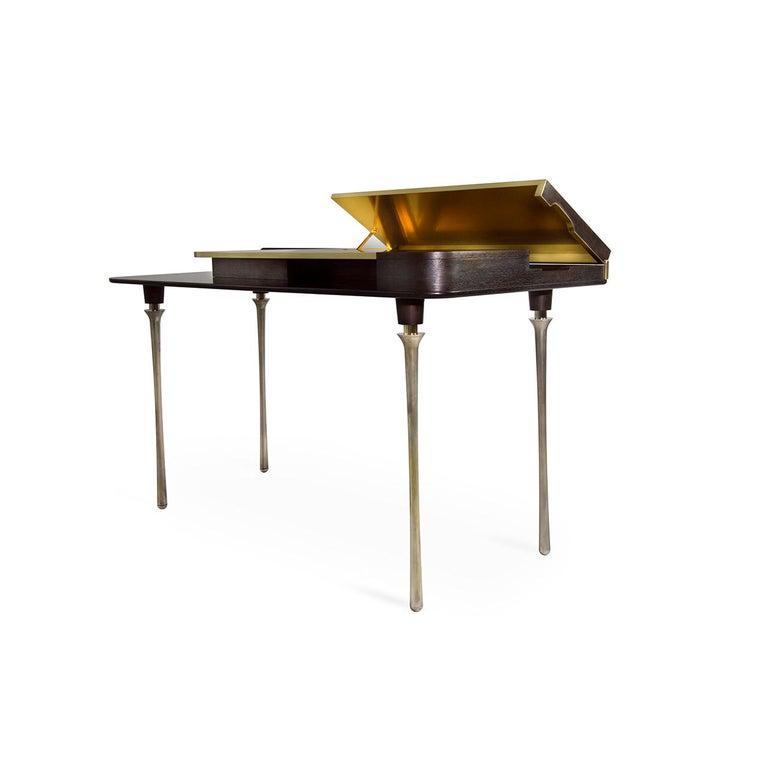 Modern Royal Desk, Silver Plated Solid Brass Leg and Varnished Wood Writing Desk For Sale