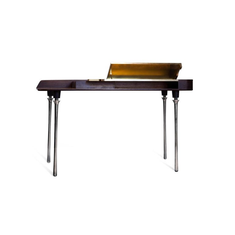 French Royal Desk, Silver Plated Solid Brass Leg and Varnished Wood Writing Desk For Sale