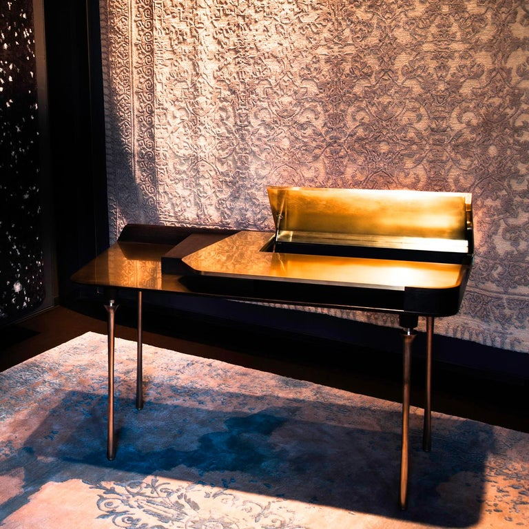 Contemporary Royal Desk, Silver Plated Solid Brass Leg and Varnished Wood Writing Desk For Sale