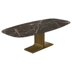 Royal, Dining Table Emperador Ceramic Top on Brass Base, Made in Italy