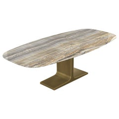Royal, Dining Table Grey Onyx Ceramic Top on Brass Base, Made in Italy