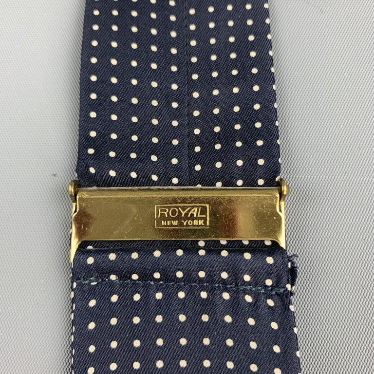Men's ROYAL Dots Navy Silk Leather Suspenders For Sale