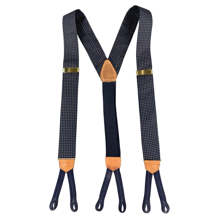 ROYAL Dots Navy Silk Leather Suspenders For Sale