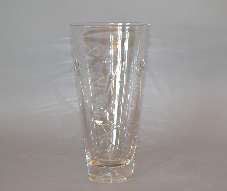 Art Deco Royal Doulton Cut Crystal Vase with Bubbles and Etching, England For Sale