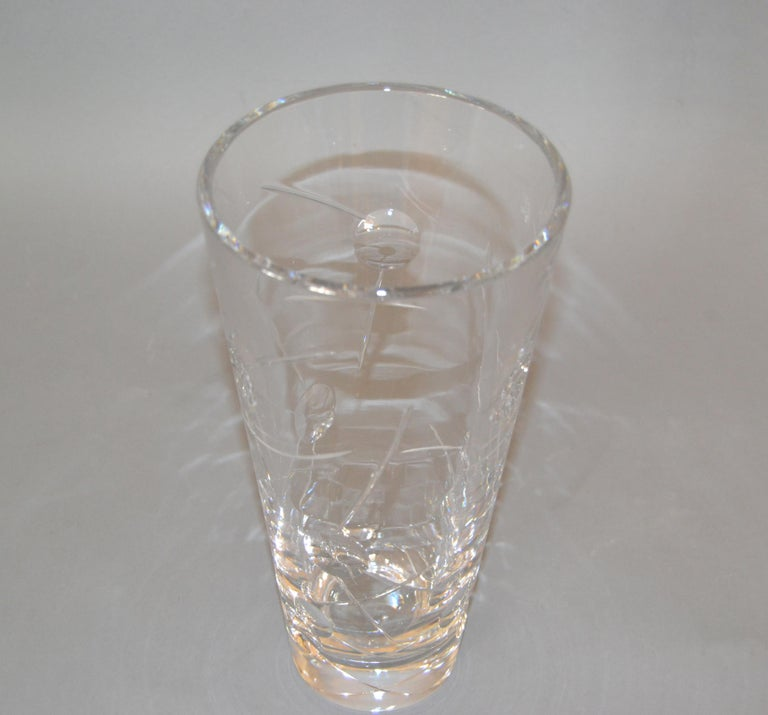 English Royal Doulton Cut Crystal Vase with Bubbles and Etching, England For Sale