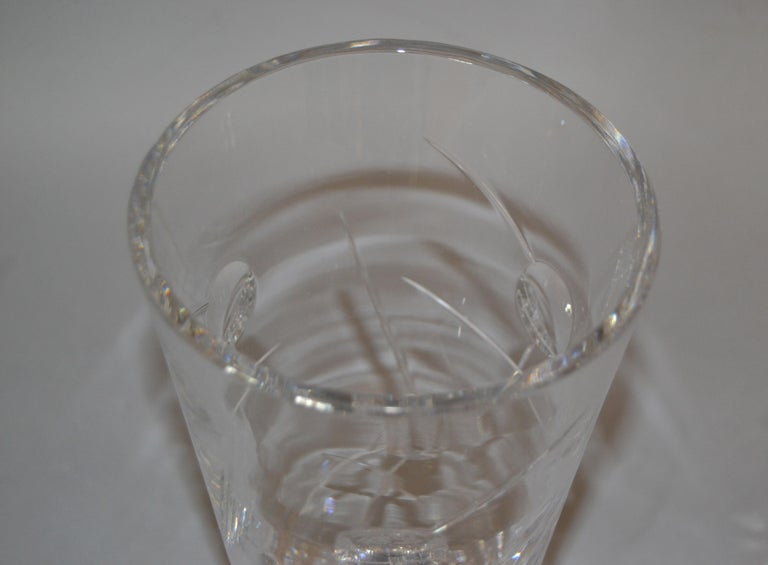 Late 20th Century Royal Doulton Cut Crystal Vase with Bubbles and Etching, England For Sale
