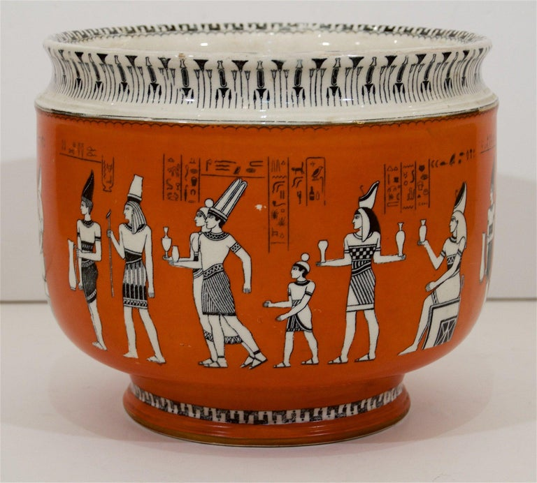 English Royal Doulton Egyptian Revival Porcelain Jardinière For Sale