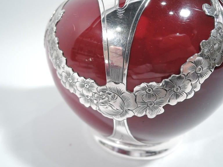 English Royal Doulton Flambé Double Gourd Vase with Gorham Silver Overlay