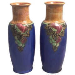 Royal Doulton Grape Cluster Vases from the Arts and Crafts Period