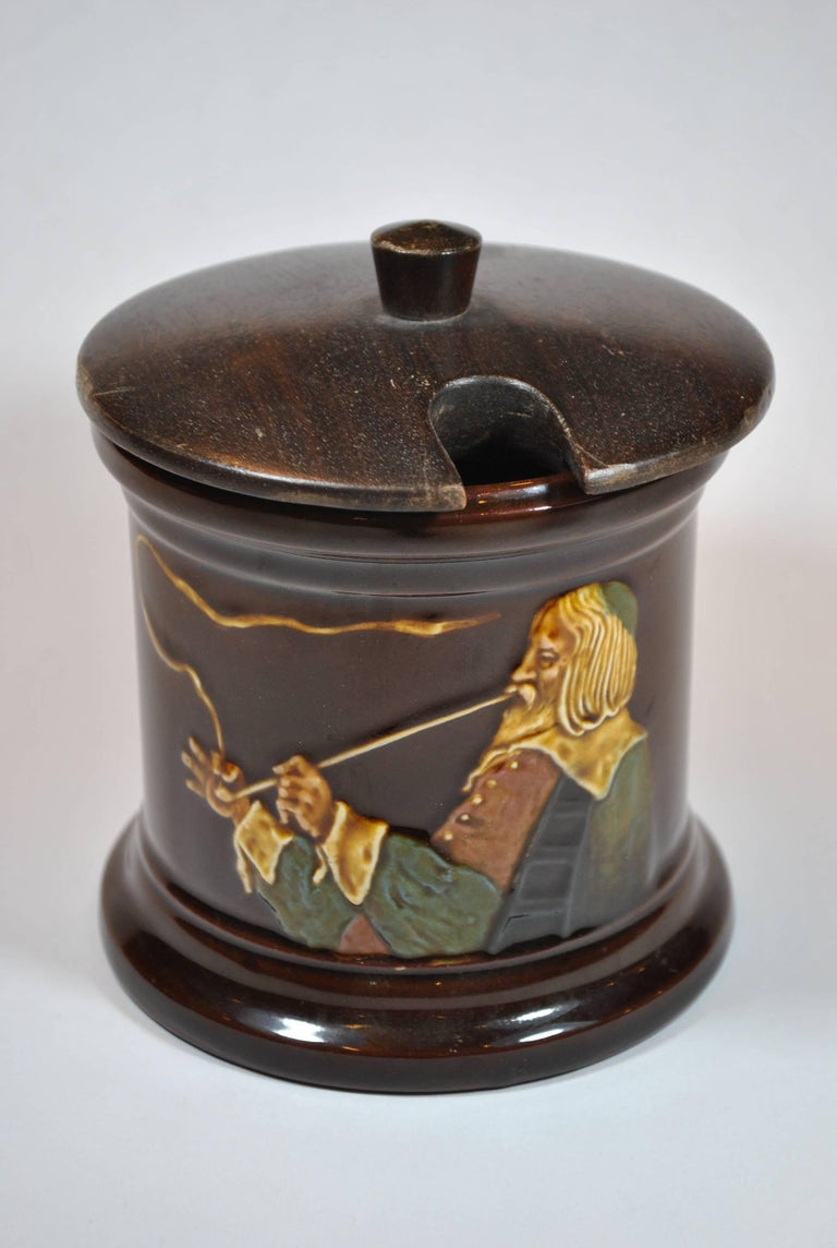 Glazed Royal Doulton Kingsware Tobacco Box with Lid For Sale
