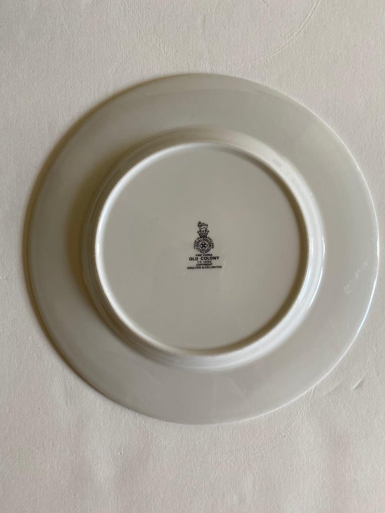 Late 20th Century Royal Doulton Old Colony Salad & Bread Plate Dinnerware Set, 12 Pieces For Sale