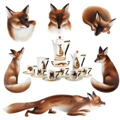 Royal Doulton Reynard 1950s Fox Coffee Service Printed & Hand Painted Bone China