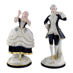 Royal Dux, Dancing Rococo Couple in Porcelain, 1940s