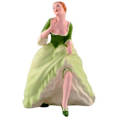 Royal Dux Hand Painted Porcelain Figurine, Woman in Light Green Dress, 1940s