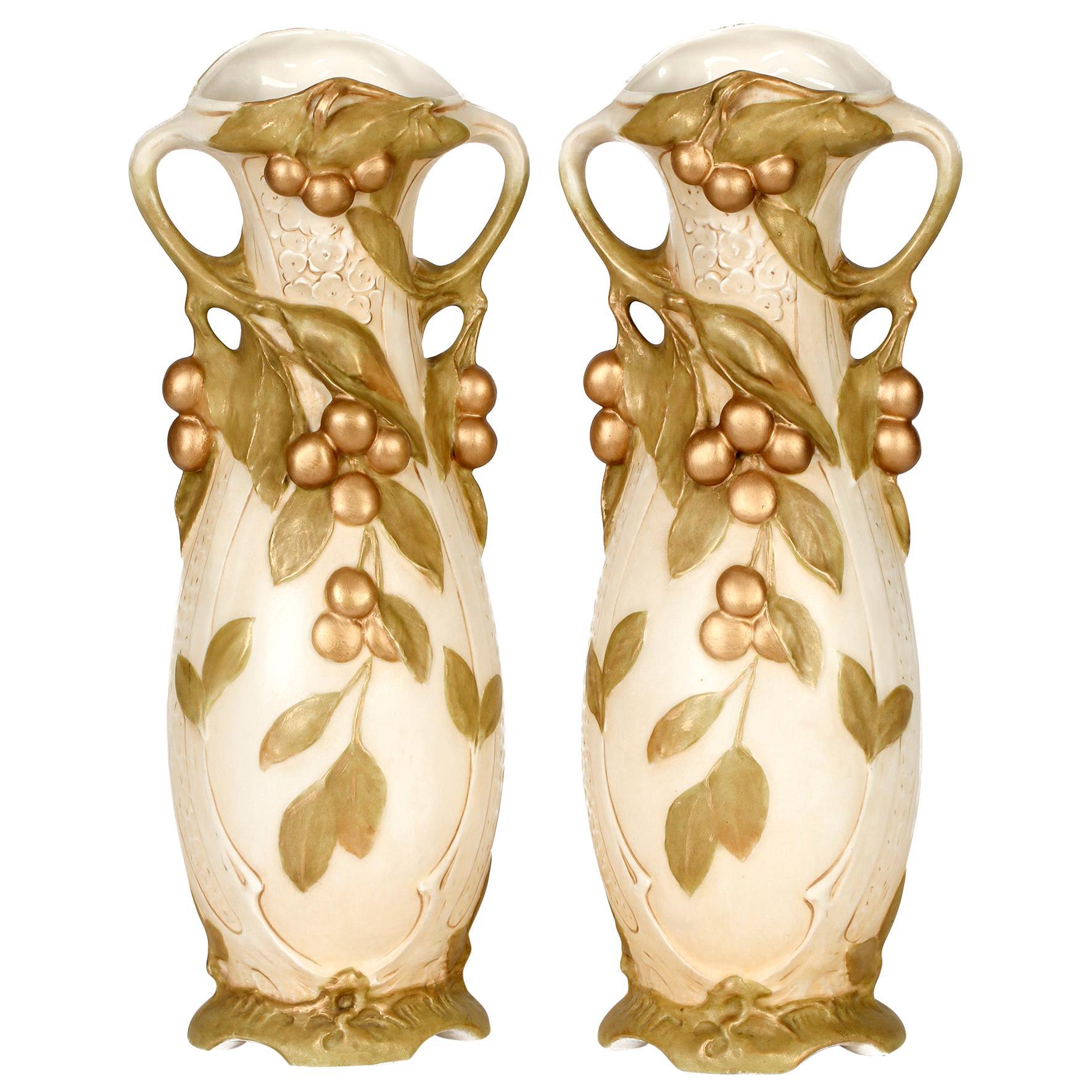 Royal Dux Large Pair of Bohemian Art Nouveau Fruiting Berry Art Pottery Vases