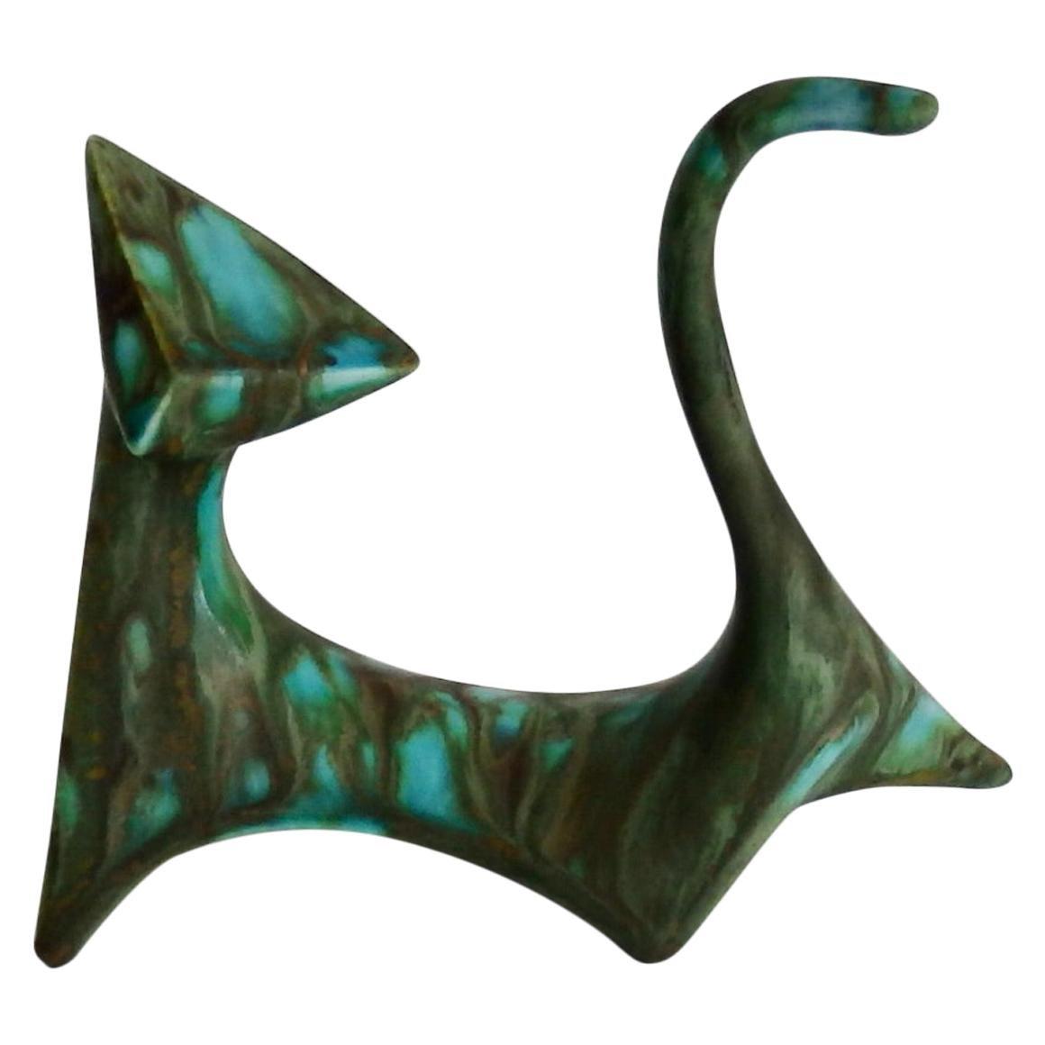 Royal Dux Marbled Glaze Cat Figurine