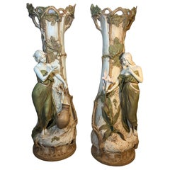 Royal Dux Pair of Art Nouveau Tall Vases