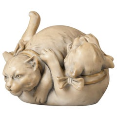 Royal Dux Porcelain Figurine Playing Cats