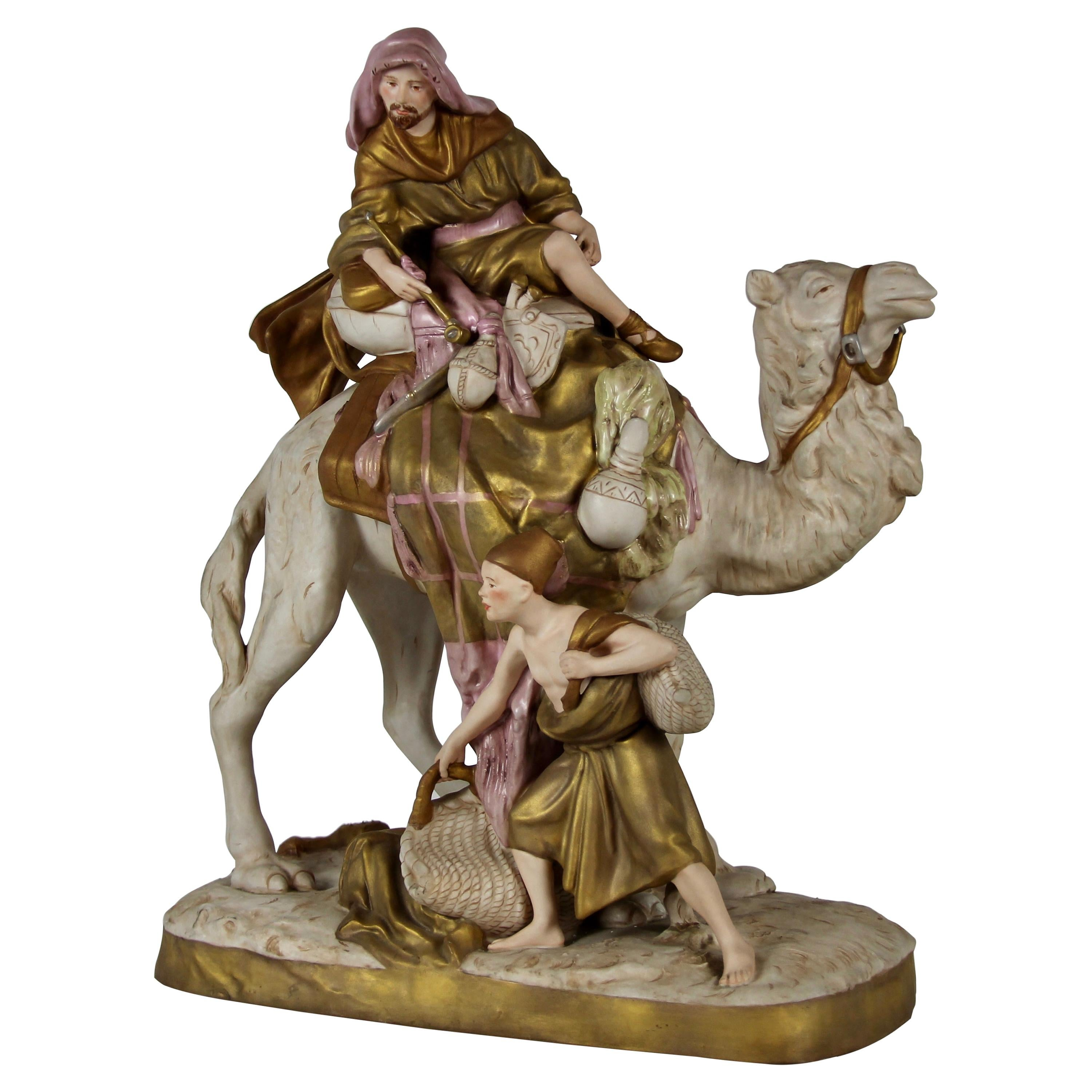 Royal Dux Porcelain Group of a Bedouin Camel Rider with His Attendant