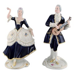 Royal Dux, Rococo Couple in Hand Painted Porcelain, 1940s