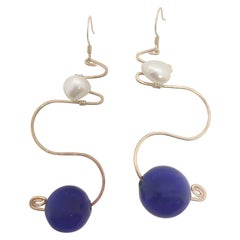 Royal Earrings with glass and freshwater pearl by Sidney Cherie Studio