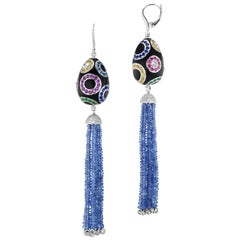 Royal Egg Design Earrings with Diamond Tipped Blue Sapphire Bead Tassel