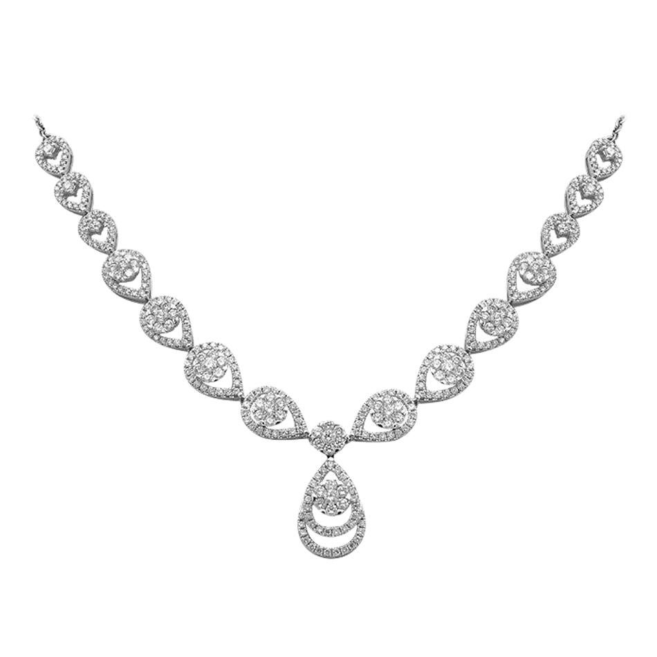 Royal Fine Jewellery White Diamond White Gold Drop Link Necklace