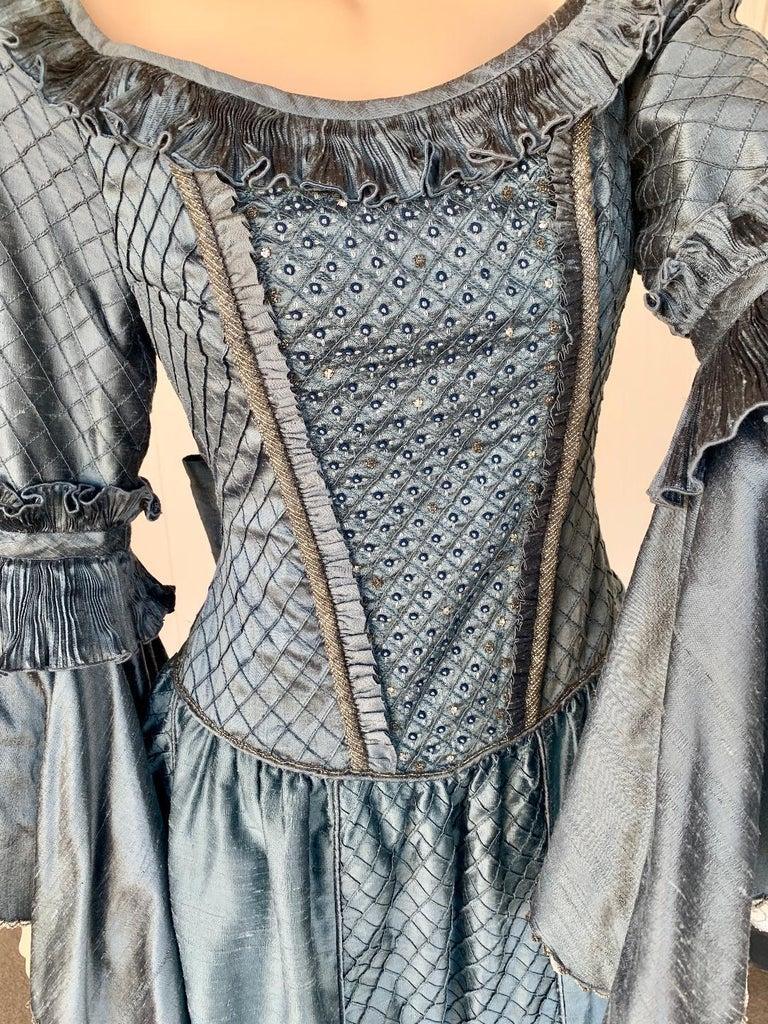 Blue Royal French Marie Antoinette Style Custom Made Silk Ballroom Gown Dress