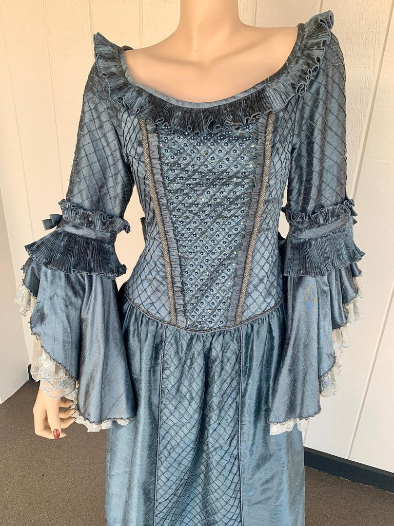 Royal French Marie Antoinette Style Custom Made Silk Ballroom Gown Dress In Excellent Condition In Tustin, CA