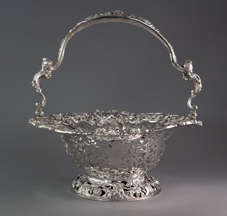 British Royal Interest, a George II Silver Harvest Basket London 1759, by William Tuite For Sale