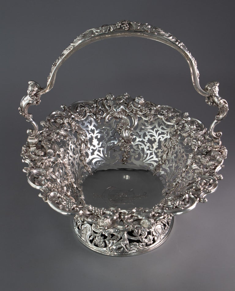 Hand-Crafted Royal Interest, a George II Silver Harvest Basket London 1759, by William Tuite For Sale
