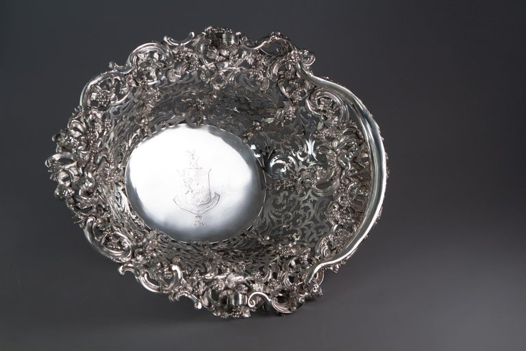 Mid-18th Century Royal Interest, a George II Silver Harvest Basket London 1759, by William Tuite For Sale