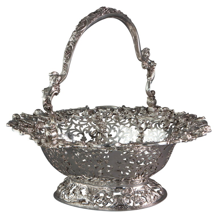 Royal Interest, a George II Silver Harvest Basket London 1759, by William Tuite For Sale