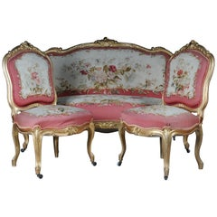 Royal Louis XV or Rococo Tapestry Sofa and Chairs, Gold, Napoleon III, 1880