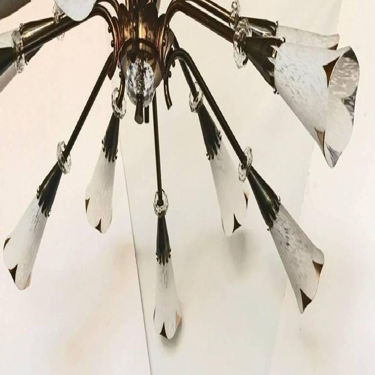 Superb 12 lights chandelier or flush mount made by Royal Lumieres Stem can be adjust to the needed dimension 12 light, 60 watt bulb max. US rewires and in working condition.