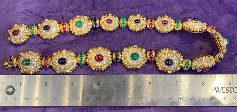Royal Multi Gem Necklace and Bracelet Set Made by Van Cleef & Arpels For Sale 7