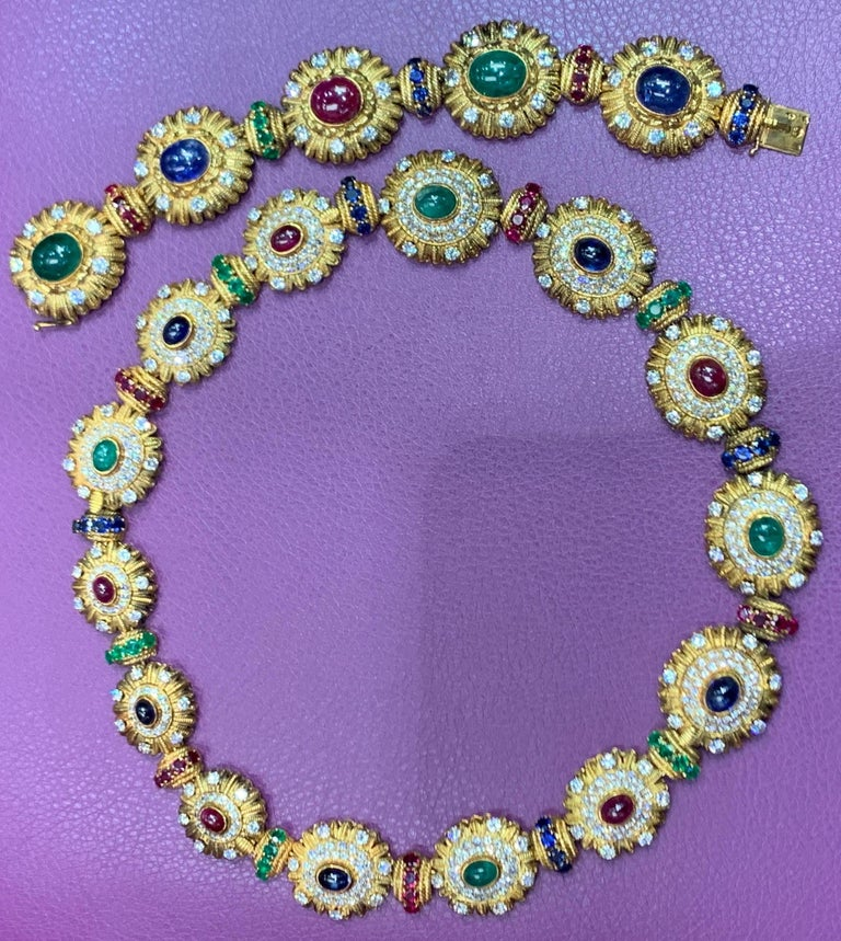 Van Cleef & Arpels Multi Gem & Diamond Necklace & Bracelet Set, made in France Cicra 1965 This extremely Beautiful multi gem ruby, sapphire & emerald set made by Van Cleef & Arpels is from the royal collection of  Queen Anne-Marie of Greece. Wear it