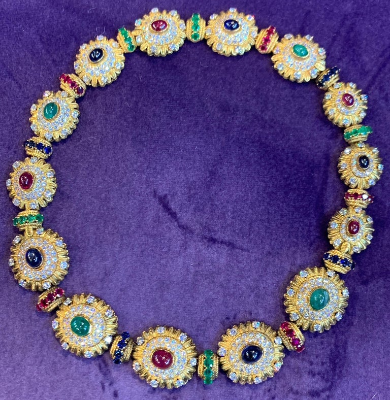 Royal Multi Gem Necklace and Bracelet Set Made by Van Cleef & Arpels In Excellent Condition For Sale In New York, NY